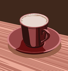 scarlet cup of cocoa is on the a scarlet saucer vector image vector image