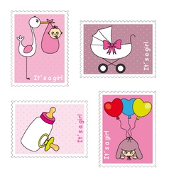 Stamps baby girl vector image