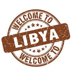 Welcome to libya brown round vintage stamp vector
