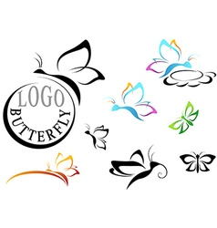 Butterfly Logo Set vector image