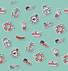 colored sea transport concept icons pattern vector image vector image