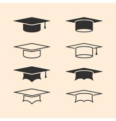 Graduation cap logos set Graduation hat logo set vector image vector image