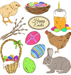Set of colorful Easter icons vector image