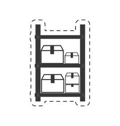 warehouse shelve boxes cargo vector image