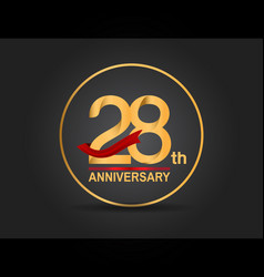 28 anniversary design golden color with ring vector
