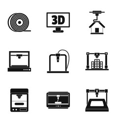 3d printer construct icon set simple style vector