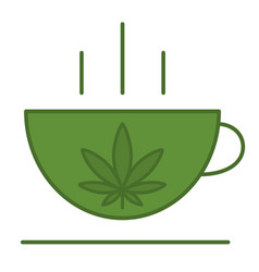 a cup with a leaf marijuana vector image