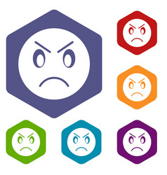 annoyed emoticon icons set vector image vector image