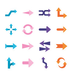 Arrows flat style icons collection design vector