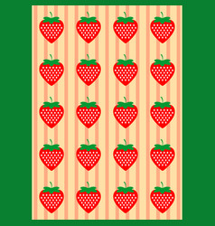 background with strawberries pattern vector image