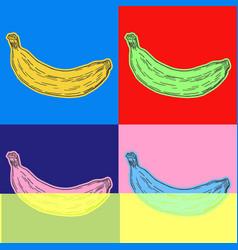 Banana pop art style andy warhol style vector
