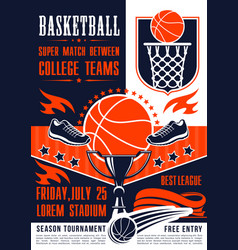 basketball college team match poster vector image