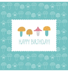 Birthday card Multicolored mushrooms vector