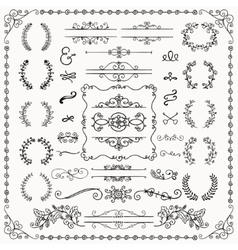 Black Hand Drawn Decorative Doodle Design Elements vector image