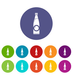 Bottle icons set color vector