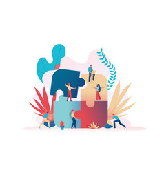 business team assemble a puzzle teamwork metaphor vector image