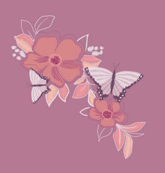 Butterfly embroidery design for clothing isolated vector