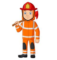 Cartoon firefighter holding an axe vector