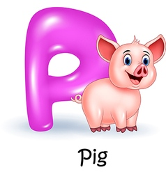 Cartoon P of letter for Pig vector image