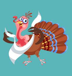 cartoon thanksgiving turkey character in napkin vector image