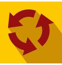 Circular red arrows flat icon vector image