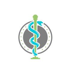 circular snake logo design health symbol vector image