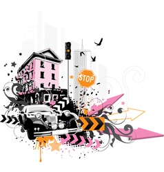 city abstraction vector image