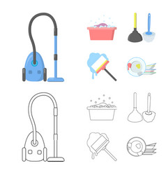 Cleaning and maid cartoonoutline icons in set vector