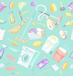 cleaning tools seamless pattern house icons vector image