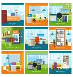 Collection of Office Interiors Concept vector
