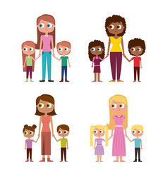 collection of womens and kids happy together vector image