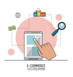 colorful poster of e-commerce and shopping with vector image