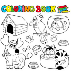 coloring book with pets 1 vector image