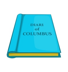 Columbus diary icon cartoon style vector