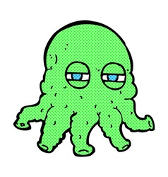 Comic cartoon alien face vector