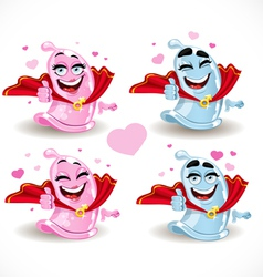 Condom smiles Superman and the Superwoman vector