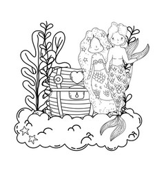 couple mermaids with treasure chest undersea vector image