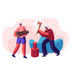 couple young men chopping wood bearded guy vector image