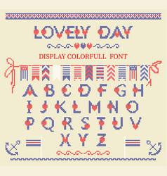 Cross stitch alphabet typeface poster good idea vector
