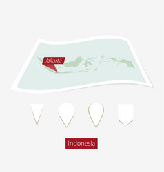 Curved paper map indonesia with capital vector