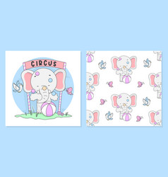 Cute circus elephant with pattern seamless vector