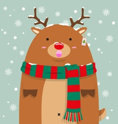 Cute fat big reindeer rudolf vector