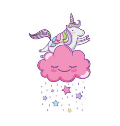 Cute unicorn and clouds vector