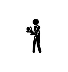 Dad with baby in his arms icon and baby icon vector
