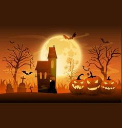 dark graveyard with creepy pumpkins and haunted vector image