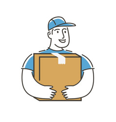 delivery service man with box logo postman vector image