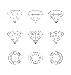Diamonds gemstones faceting patterns vector image