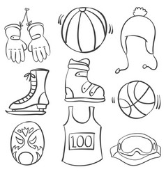 Doodle of sport equipment black white vector