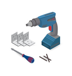 drill screwdriver isometric construction tools vector image