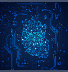 electronic heart vector image
